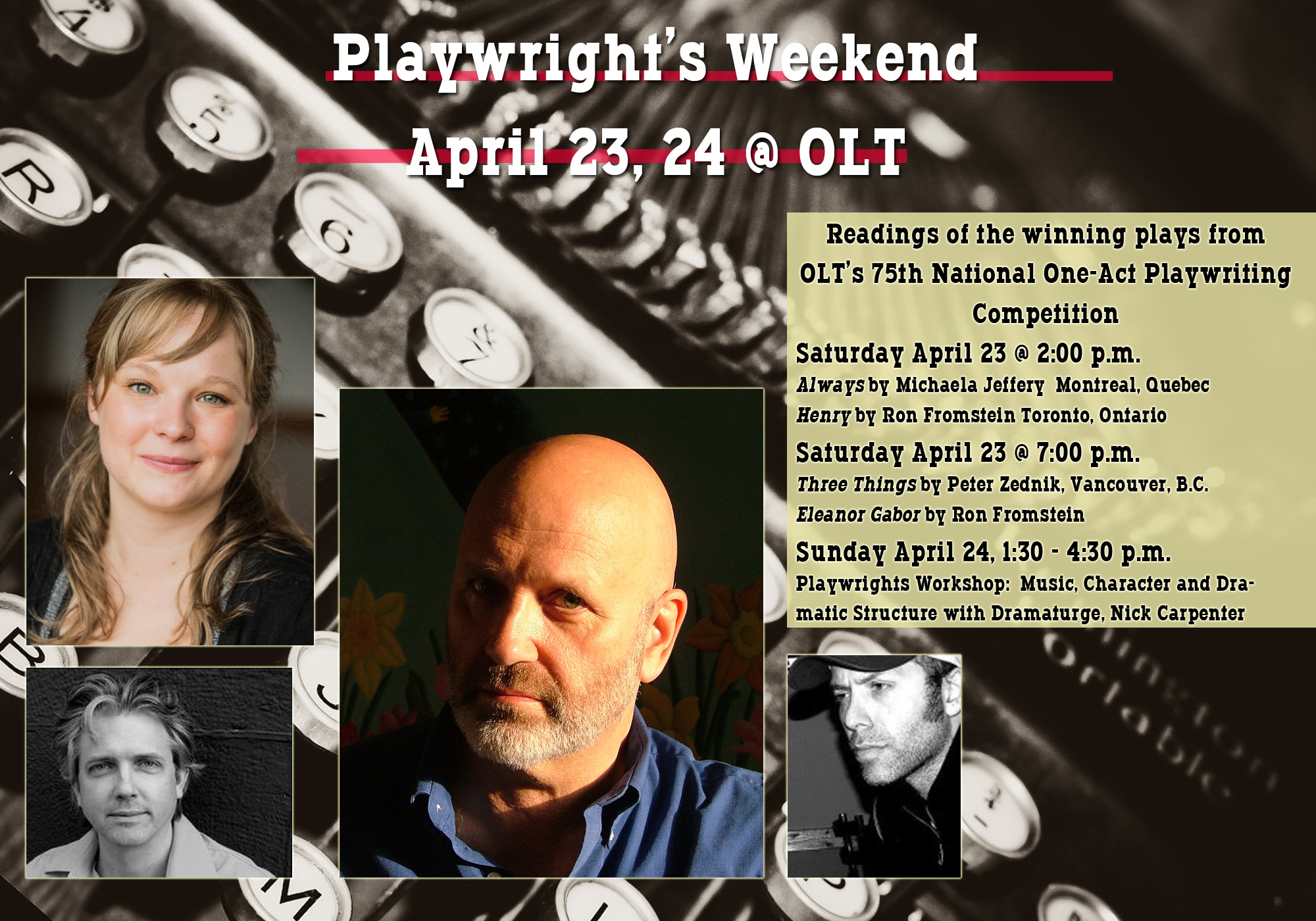 Playwrights Weekend April 23, 24 - Ottawa Little Theatre