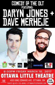 Live Comedy Featuring Daryn Jones & Dave Merheje @ Ottawa Little Theatre | Ottawa | Ontario | Canada